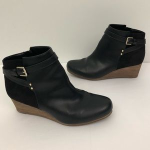 Dr. Scholl's Double Wedge Black Ankle Boots Buckle